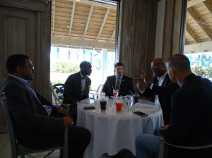 Round table discussion w/ Amb. Dr. Clyde Rivers, Reuben Egolf, Dr. Brian Williams, and Dr. Horton in Nassau, Bahamas