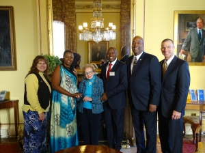 Dr. Reuben Egolf on Capital Hill w/ the distinguished Dr Albert Nasasagare, Chief Protocol Officer to the President of Burundi, Ambassador Dr. Clyde Rivers (Burundi), Dr. Ruth Mizell, and our wives.